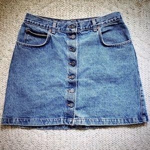 90s Vintage Calvin Klein Button Up Jean Skirt